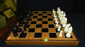 Wonderful Vintage Carved Ivory And Ebony Chess Set,