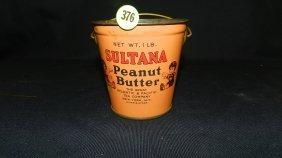 Vintage Sultana Peanut Butter Pail / Tin