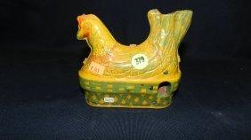 Antique Tin Litho Toy Hen That Lays Eggs, (no Eggs