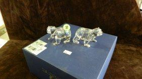 Great Marked Swarovski Crystal  Polar Bear Cubs Fig