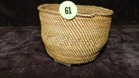 Authentic Native American Handmade Woven Basket / R