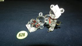 Great Stamped Swarovski Crystal 2 Piece Bears Figu