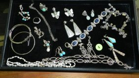Nice Tray Of Estate Jewelry Most Sterling (no Tray)