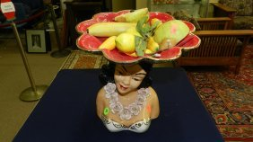 Rare Mid Century Hawaiian Bisque Native Figure Frui