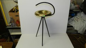 Mid Century Black And Brass Floor Model Ashtray