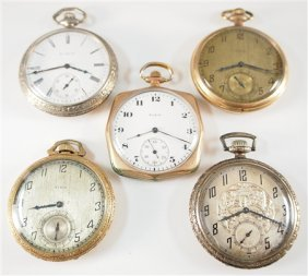 5 Elgin Pocket Watches